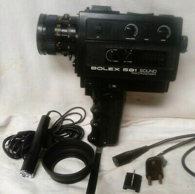 Vintage Bolex 581 Sound Macrozoom Super 8 Cine Camera + Mic + Power Lead + Case