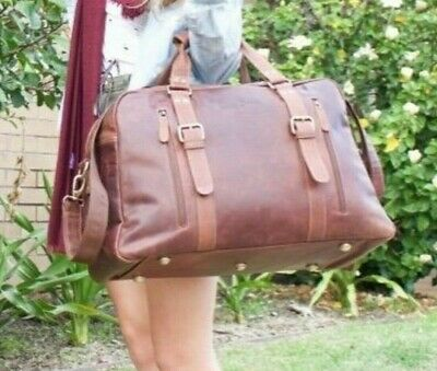 Mens Duffle Bag Leather Luggage Travel Shoulder Bags Large Capacity Gym Handbag