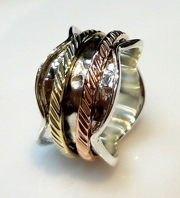 925 Sterling Silver 6 Gm Hammered Spinner Ring Size 6.5  Brass/Copper