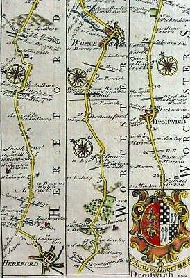 Original road map HEREFORD to LEICESTER c1720 Owen & Bowen Britannia Dipicta VGC
