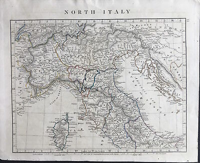 Antique Map NORTH ITALY c1828 by A. Arrowsmith original outline colour