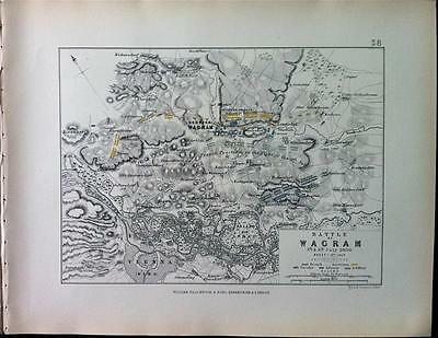Map, Battle Plan WAGRAM sheet 1 c1809 Napoleonic War Engraved A K Johnston