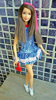 Skipper Mold Barbie Doll Hybrid Purple Eyes Brunete Hot Pink Streak Mint Clothes