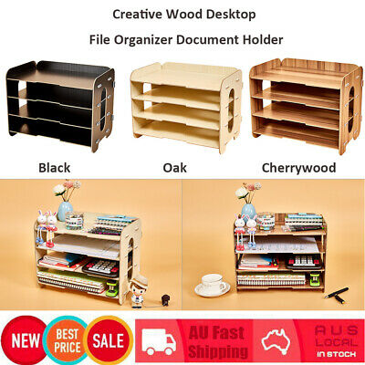 Desktop File Organizer Wood Document Holder Letter Tray 4 Layers for Office AU
