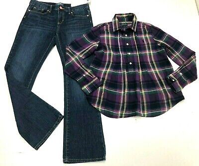 Bambina Vestito Old Navy Denim Jeans & Ralph Lauren Manica Lunga Plaid Top 10-12
