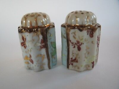 Antique Victorian Hand Painted Pair of Pretty Porcelain Sugar Shakers c.1900