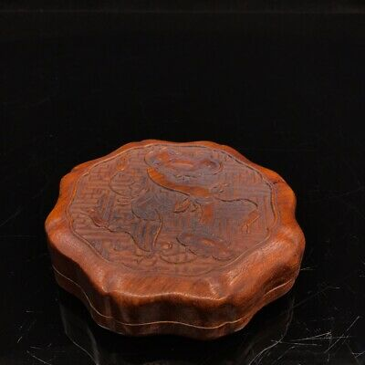 "5"" China old antique huanghuali wood handcarved Ruyi ink box statue"