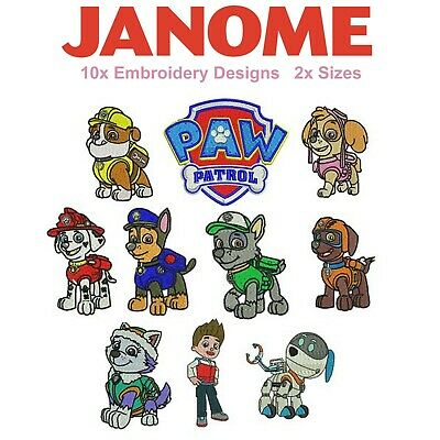Paw Patrol Embroidery Designs (JEF / Janome Format) 10 Designs 2 Sizes