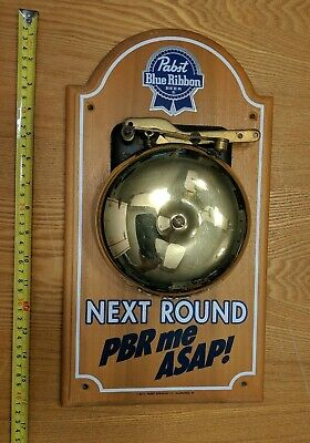 Vintage 1992 Pabst Blue Ribbon Beer Pbr Pub Bar Tip Bell Boxing Bell Solid Wood