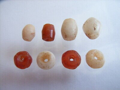 8 Ancient Roman Carnelian, Quartz Beads Romans VERY RARE!  TOP !!