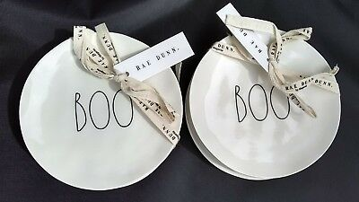 """New RAE DUNN Halloween Set of 8 BOO Round Plates White 6"""" Dishes Long Letters"""