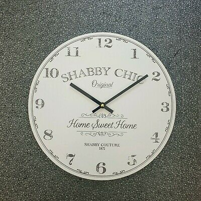 Shabby Chic Wooden Wall Clock Vintage Rustic Kitchen Home Sweet Home White
