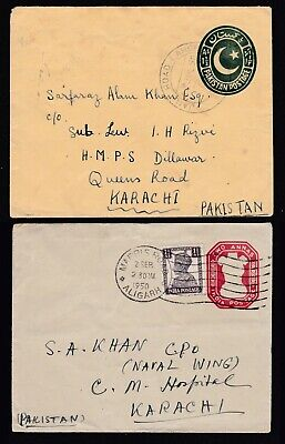 Pakistan 1950 Pair Of Covers To Same Addressee Ex Aligarh & Jail Road Lahore