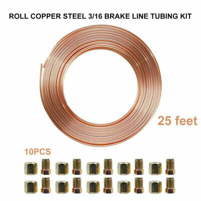"""Triumph Stag 25ft 3//16/"""" Copper Brake Pipe Male Female Nuts Joiner Tube Joint Kit"""