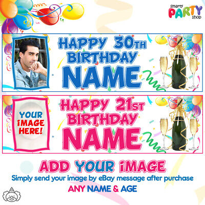 "2x LARGE 36"" Personalised PHOTO Birthday Banner Party Decorations 18th 21st 50th"
