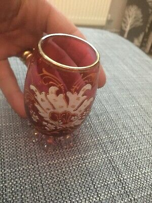 Antique Victorian Cranberry Glass vase with Hand Painted Design 3.5inches
