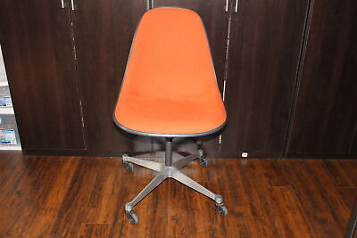 Vintage Herman Miller Eames Fiberglass Shell Wheeled Swivel Chair-Orange Fabric
