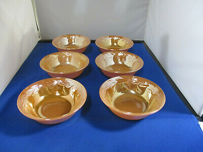 Lot Of 6 Vintage Fire King Oven Ware Peach Small Berry Bowls