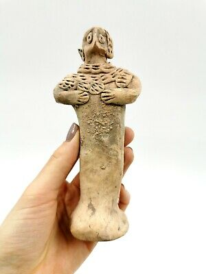 Superb Syro Hitite Ca.2000 Bc  Terracotta Standing Female Fertility Idol- R297