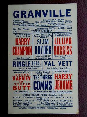 Granville Variety Theatre Walham Green FULHAM London *Vintage* Poster c1920s