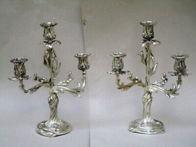 2 Bougeoirs Candelabres  Louis Xv Rocaille Bronze Argente  Chacun Pour 3 Bougies