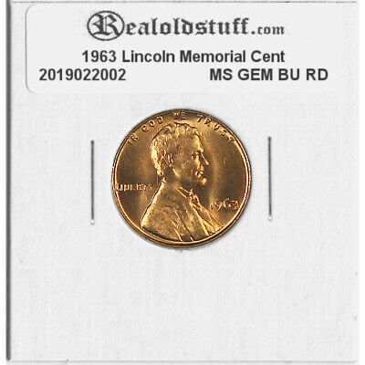 1963 Lincoln Memorial Cent Penny - MS GEM CHOICE BU UNC RED RD COPPER