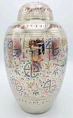 Brass Adult Cremation Urn for Ashes - Silver with Colour Floral Design.