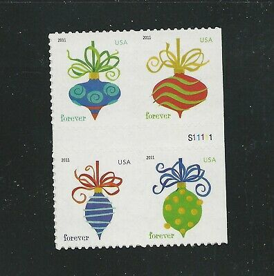 2011 #4582a Holiday Baubles Block of 4 from ATM pane with 4579-82 with P#
