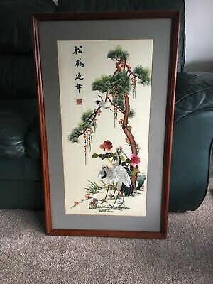 Framed Chinese Silk Embroidery Panel Antique Needlework Pelicans