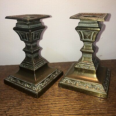Pair Of Heavily Decorated Victorian Brass Candlesticks Cast Iron Base Antique