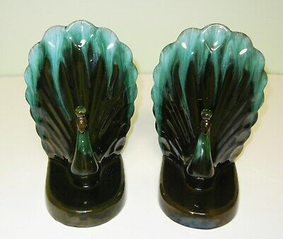 Blue Mountain Pottery Pair Of Peacock Bookends - Excellent Condition