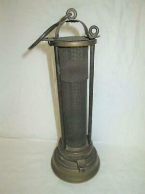 Antique Brass, Bonneted Flip Top, Screw Lock Base Miners Davy Lamp
