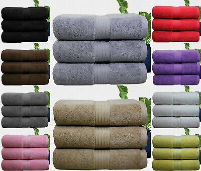 Pack of 3 Bath Towels 800 Gsm Premium Quality Egyption Combed  Plush Towels !!!