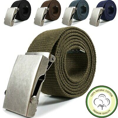Mens Womens 100% Cotton Automatic Buckle Canvas Web Belt Military Jean Casual