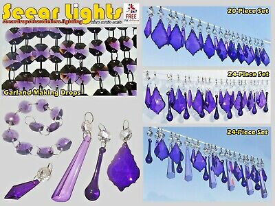Cut Glass Crystals Droplets Antique Purple & Retro Lilac Chandelier Beads Prisms