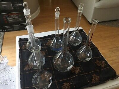 Lot Of 7- 250ml, 500ml Lab Glass Volumetric Flask W/Glass Stopper