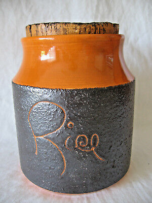 Vint Australian Hanstan Stoneware Pottery Orange Brown Rice Cannister Canister