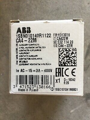 ABB 1SBN010140R1122 - CA4-22M Auxiliary Contacts - New