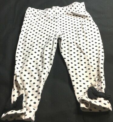 Okie Dokie white leggings with black polka dots and black bows, size 5T