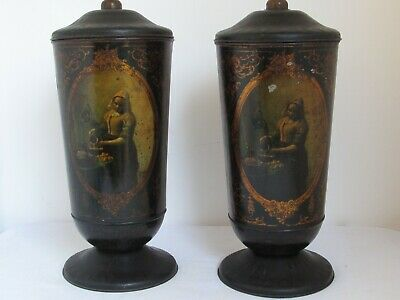 """Pair of French Tole Lidded Urns 18"""" tall Scenic and c. 1850"""