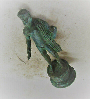 Extremely Rare Ancient Roman Bronze Statuette Of Zues Holding Thunderbolt