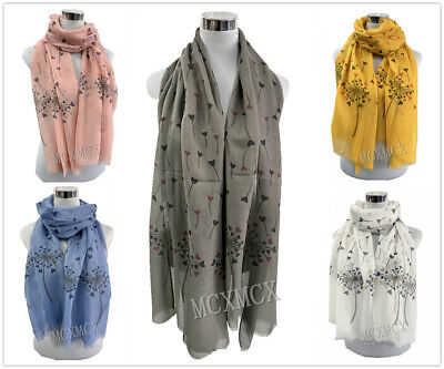 Women Ladies Long Pretty Summer Big Feather Pattern Print Shawl Scarf  Stole