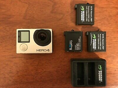 GoPro HERO4 Action Camera - Silver (+2 extra batteries & charger)