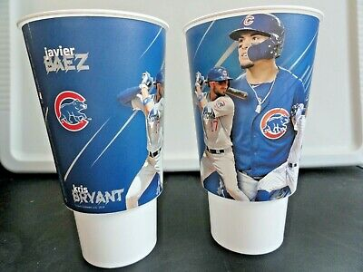 Chicago Cubs Wrigley Field 2019 Baez Bryant Rizzo Souvenir Cups, Lot of 2