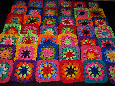 42 Beautiful Crochet Daisy Centre Granny Squares, Crocheted Motifs. (A)
