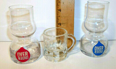 Lot Of 2 Over Under Drink Glass Double Bubble Jigger Chaser & 1 Shot Mug