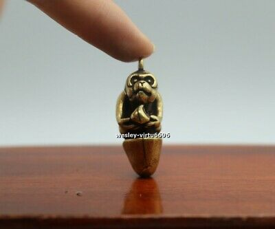 4 CM China Royal Pure Bronze Copper Lucky Chinese Zodiac Animal monkey Pendant