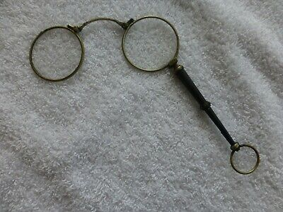 Glasses Antique Lorgnette Spring Loaded Hand Held Circa 1900 Diamantes Eye Read