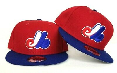 brand new 93b6f 3c7c2 New Era MLB Cooperstown Montreal Expos 9Fifty Snapback Hat Red Blue