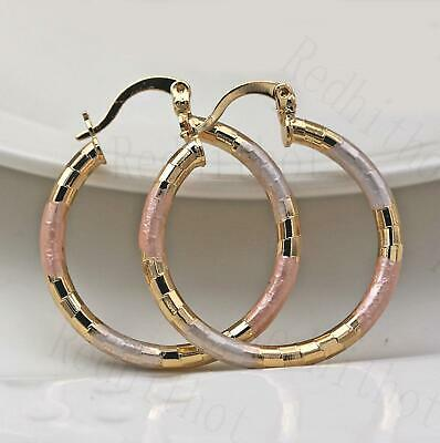 "18K Gold Filled- .3"" Big Hoop Geometry Hollow Circle 3-Colored Party Earrings SW"